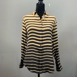 J McLAUGHLIN Striped 100% Silk Blouse Size S